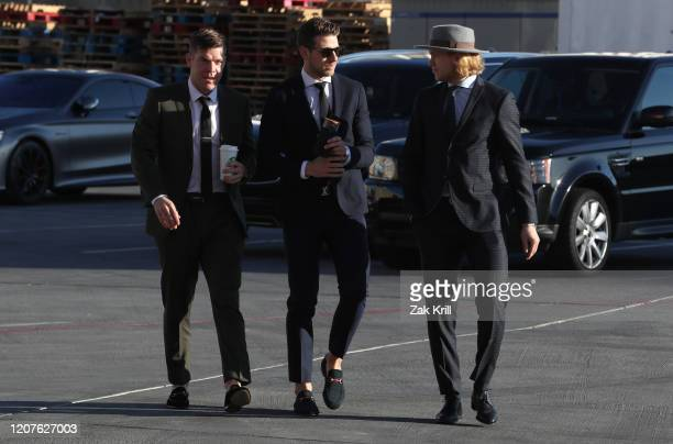 Paul Stastny Shea Theodore and William Karlsson of the Vegas Golden Knights arrive at TMobile Arena prior to a game against the Tampa Bay Lightning...