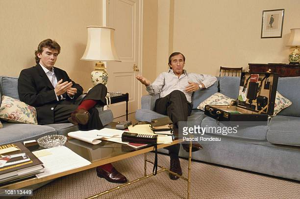Paul Stewart racing driver and team owner with his father three time Formula One Grand Prix world champion Jackie Stewart on 1st February 1989 at the...