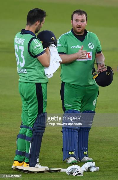 Paul Stirling and Andrew Balbirnie of Ireland take a break during the third oneday international against England at the Ageas Bowl on August 04 2020...