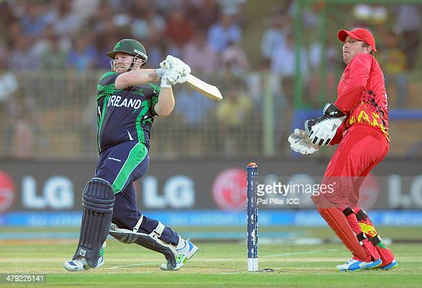 Paul Stirling of Ireland bats during the ICC T20 World Cup match between Ireland and Zimbabwe played at Sylhet International Cricket Stadium on March...