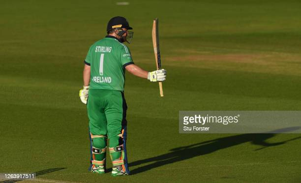 Paul Stirling of Ireland celebrates reaching fifty during the Third One Day International between England and Ireland in the Royal London Series at...