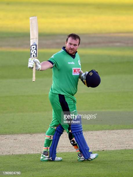 Paul Stirling of Ireland celebrates reaching his century during the Third One Day International between England and Ireland in the Royal London...