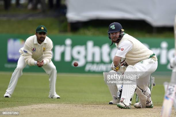 Paul Stirling of Ireland during the third day of the test cricket match between Ireland and Pakistan on May 13 2018 in Malahide Ireland