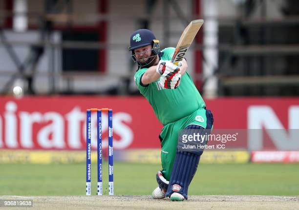 Paul Stirling of Ireland hits out during The ICC Cricket World Cup Qualifier between Ireland and Afghanistan at The Harare Sports Club on March 23...
