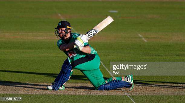 Paul Stirling of Ireland hits out during the Third One Day International between England and Ireland in the Royal London Series at Ageas Bowl on...