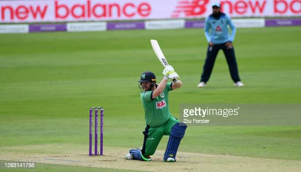 Paul Stirling of Ireland hits out only to be caught by Tom Banton of England during the Second One Day International between England and Ireland in...