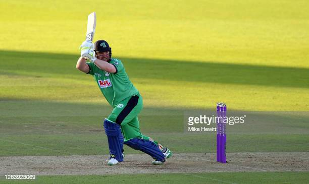 Paul Stirling of Ireland hits runs during the Third One Day International between England and Ireland in the Royal London Series at Ageas Bowl on...