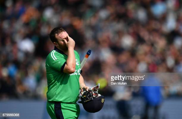 Paul Stirling of Ireland leaves the field dejected after being caught behind by Sam Billings of England during the Royal London One Day International...