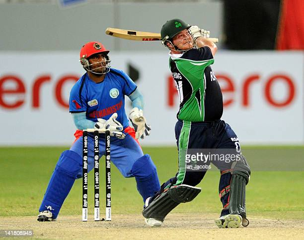 Paul Stirling of Ireland on his way to 79 during the ICC World Twenty20 qualifier final between Ireland and Afghanistan at the Dubai International...