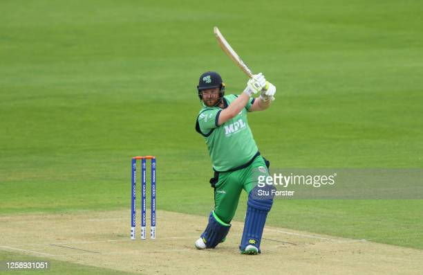 Paul Stirling of Ireland plays a shot for four during the Warm Up match between England Lions and Ireland at the Ageas Bowl on July 26, 2020 in...