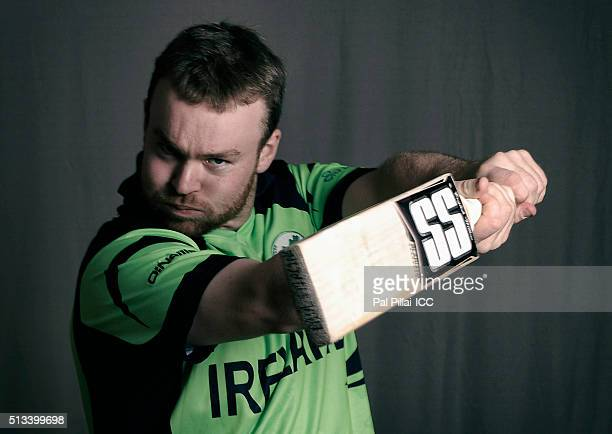 Paul Stirling of Ireland poses during the official photocall for the ICC Twenty20 World on March 2 2016 in Dharamsala India