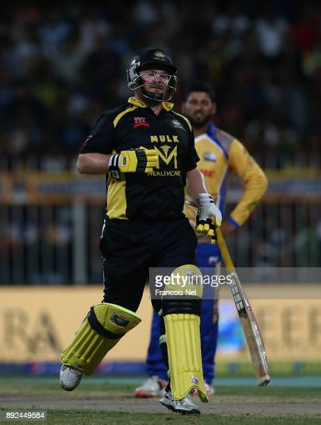 Paul Stirling of Kerela Kings reacts during the T10 League match between Bengal Tigers and Kerala Kings at Sharjah Cricket Stadium on December 14...