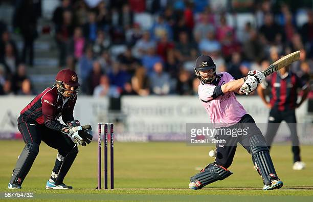 Paul Stirling of Middlesex bats during the NatWest T20 Blast Quarter Final match between Northamptonshire Steelbacks and Middlesex at The County...