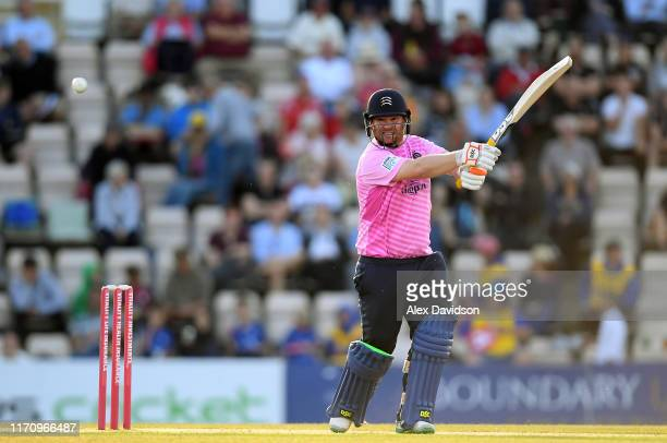 Paul Stirling of Middlesex bats during the Vitality Blast match between Hampshire and Middlesex at Ageas Bowl on August 29 2019 in Southampton England