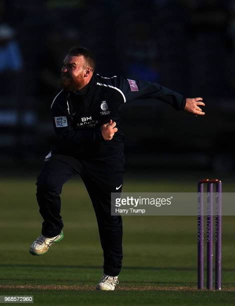 Paul Stirling of Middlesex bowls during the Royal London OneDay Cup match between Gloucestershire and Middlesex at the Brightside Ground on June 6...