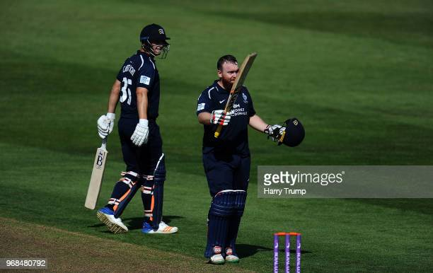 Paul Stirling of Middlesex celebrates his century during the Royal London OneDay Cup match between Gloucestershire and Middlesex at the Brightside...
