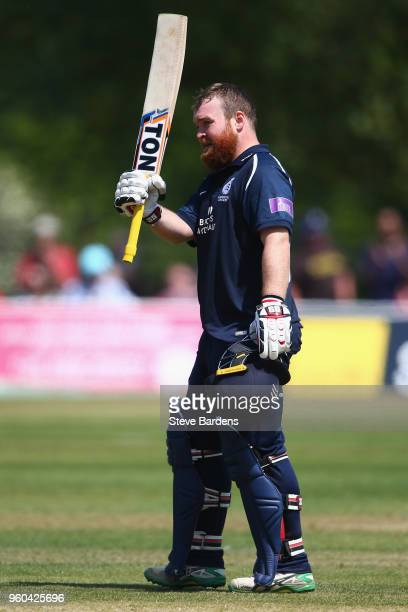 Paul Stirling of Middlesex celebrates scoring a century during the Royal London OneDay Cup match between Middlesex and Kent at Radlett Cricket Club...