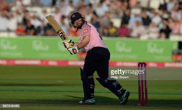 Paul Stirling of Middlesex hits a four during the Middlesex v Surrey Vitality T20 Blast match at Lord's Cricket Ground on July 5 2018 in London...