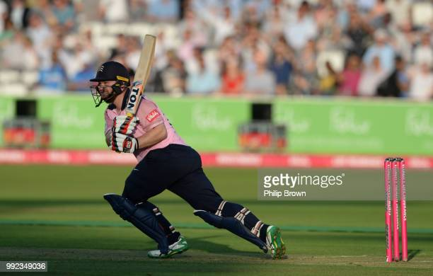 Paul Stirling of Middlesex hits out during the Vitality T20 Blast match between Middlesex and Surrey at Lord's Cricket Ground on July 5 2018 in...