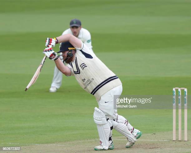 Paul Stirling of Middlesex plays a shot during day three of the Specsavers County Championship Division Two match between Middlesex and Glamorgan at...