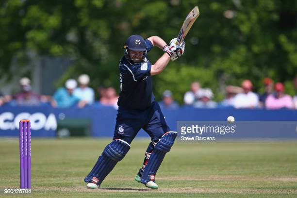 Paul Stirling of Middlesex plays a shot during the Royal London OneDay Cup match between Middlesex and Kent at Radlett Cricket Club on May 20 2018 in...