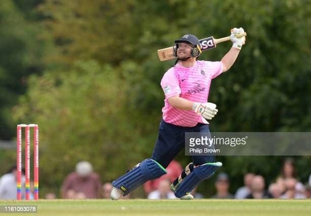 Paul Stirling of Middlesex watches as he is caught during the Vitality Blast T20 South Group match betweeen Middlesex and Gloucestershire at Radlett...