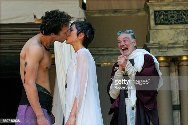 Paul Stocker as Troilus Laura Pyper as Cressida and Mathew Kelly as Pandarus and Mathew Flynn as Agamemnon in the production of William Shakespeare's...