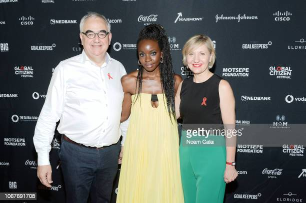 Paul Stoffels Chief Scientific Officer at Johnson Johnson Danai Gurira and Dr Glenda Gray President of South African Medical attend the Global...
