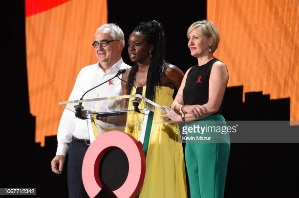 Paul Stoffels Chief Scientific Officer at Johnson Johnson Danai Gurira and Dr Glenda Gray President of South African Medical speak on stage during...