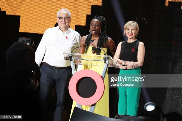 Paul Stoffels Chief Scientific Officer at Johnson Johnson Danai Gurira and Dr Glenda Gray President of South African Medical during the Global...