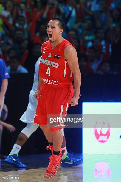 Paul Stoll of Mexico celebrates during a match between Mexico and Dominican Republic as part of the 2015 FIBA Americas Championship for Men at...