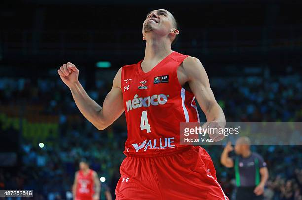 Paul Stoll of Mexico celebrates during a second stage match between Venezuela and Mexico as part of the 2015 FIBA Americas Championship for Men at...