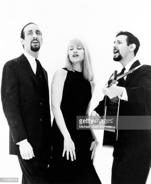 Paul Stookey Mary Travers and Peter Yarrow of the folk group Peter Paul Mary pose for a portrait in circa 1965