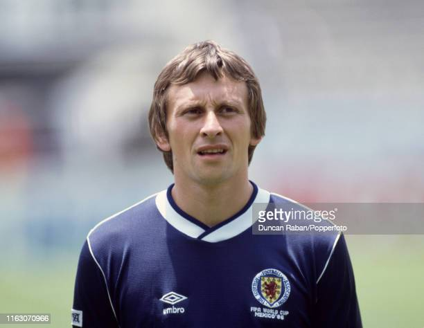 Paul Sturrock of Scotland lines up before the FIFA World Cup Group E match between Scotland and Uruguay at the Estadio Neza 86 on June 13 1986 in...