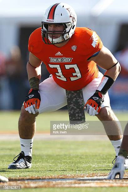 Paul Swan of the Bowling Green Falcons lines up for a play during the game against the Kent State Golden Flashes on November 17 2012 at Doyt Perry...