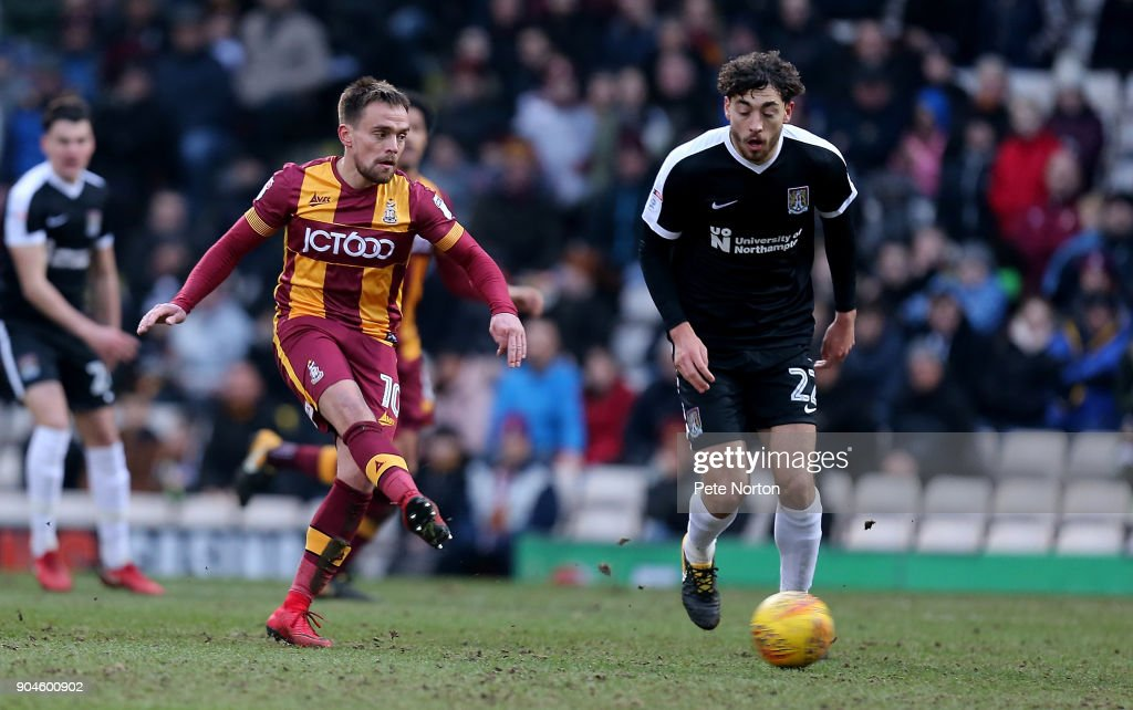 Paul Taylor of Bradford City plays the ball during the Sky Bet League One match between Bradford City and Northampton Town at Northern Commercials Stadium, Valley Parade on January 13, 2018 in Bradford, England.