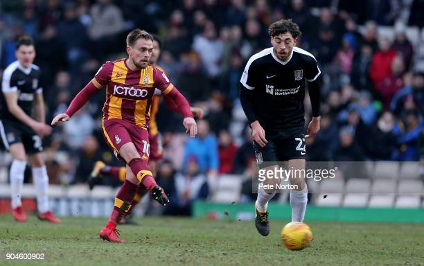 Paul Taylor of Bradford City plays the ball during the Sky Bet League One match between Bradford City and Northampton Town at Northern Commercials...