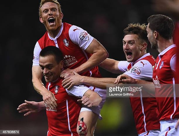 Paul Taylor of Rotherham United celebrates his first half goal with Paul Green during the Sky bet Championship match between Rotherham United and...