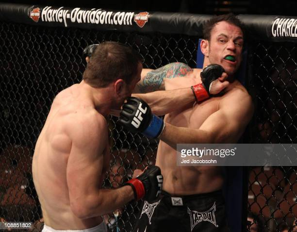 Paul Taylor punches Gabe Ruediger during their lightweight bout at UFC 126 at the Mandalay Bay Events Center on February 5 2011 in Las Vegas Nevada