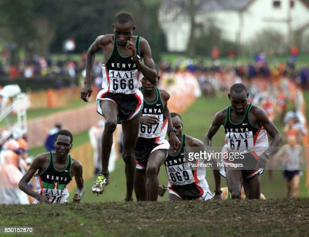 Paul Tergat from Kenya on the first lap of the IAAF World Cross Country Championships in Belfast with fellow Kenyans as they dominated the mens long...