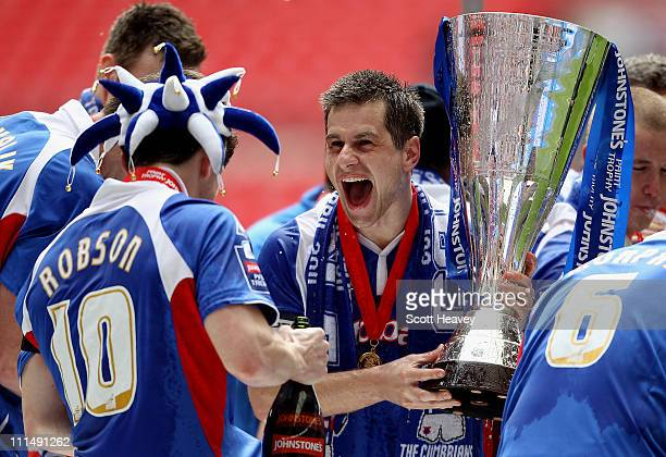 Paul Thirlwell of Carlisle celebrates after winning the the Johnstone's Paint trophy Final between Brentford and Carlisle United at Wembley Stadium...