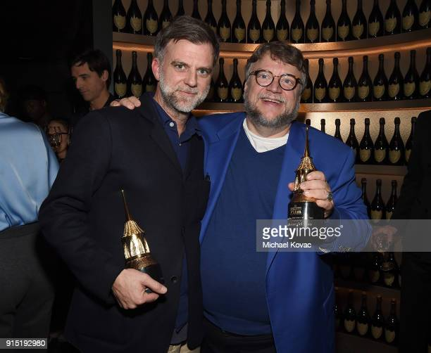 Paul Thomas Anderson and Guillermo del Toro visit the Dom Perignon Lounge after receiving the Outstanding Directors Award at The Santa Barbara...