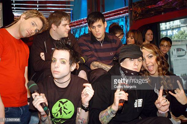 Paul Thomas Billy Martin Joel Madden and Benji Madden of Good Charlotte with Fuse VJs Steven and Marianela *Exclusive*
