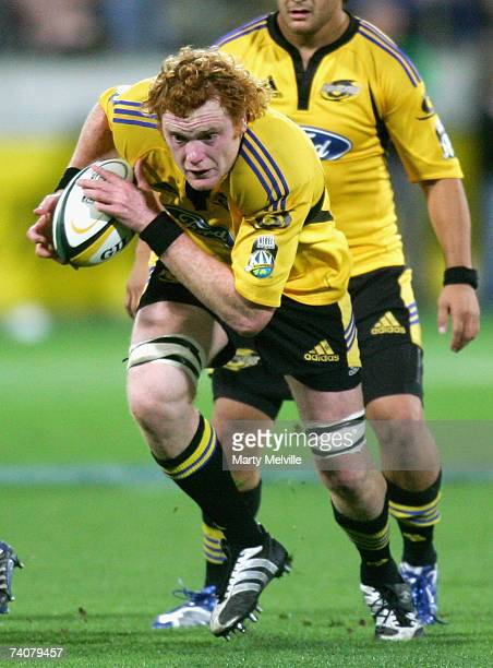 Paul Tito of the Hurricanes makes a break during the round 14 Super 14 match between the Hurricanes and the Waratahs at Westpac Stadium May 5 2007 in...