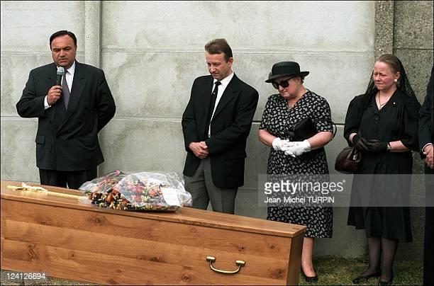 Paul Touvier's funeral In Paris France On July 25 1996 Paul Touvier's lawyer Jacques Tremolet de Villers Pierre Touvier Monique Touvier Chantal...