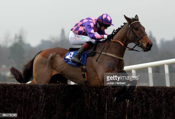 Paul Townend and Citizen Vic clear an ealy fence before landing The Dr PJ Moriarty Novice Steeplechase Race run at Leopardstown Racecourse on...