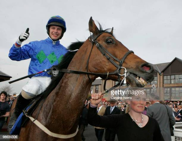 Paul Townend is led in on Hurricane Fly after winning the Rabobank Champion Hurdle at Punchestown Racecourse on April 23, 2010 in Naas, Republic of...