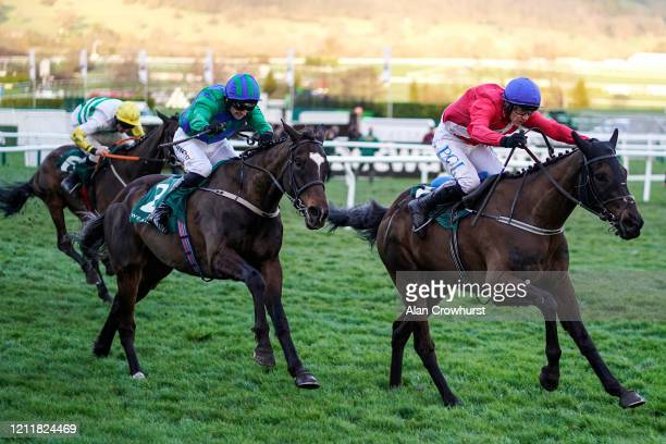 Paul Townend riding Ferny Hollow win The Weatherbys Champion Bumper on Ladies Day at Cheltenham Racecourse on March 11, 2020 in Cheltenham, England.