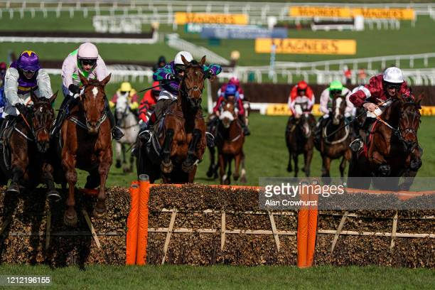 Paul Townend riding Monkfish clear the last to win The Albert Bartlett Novices' Hurdle on Gold Cup day at Cheltenham Racecourse on March 13 2020 in...