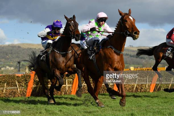Paul Townend riding Monkfish jumps during the Albert Bartlett Novices' Hurdle at Cheltenham Racecourse on March 13 2020 in Cheltenham England